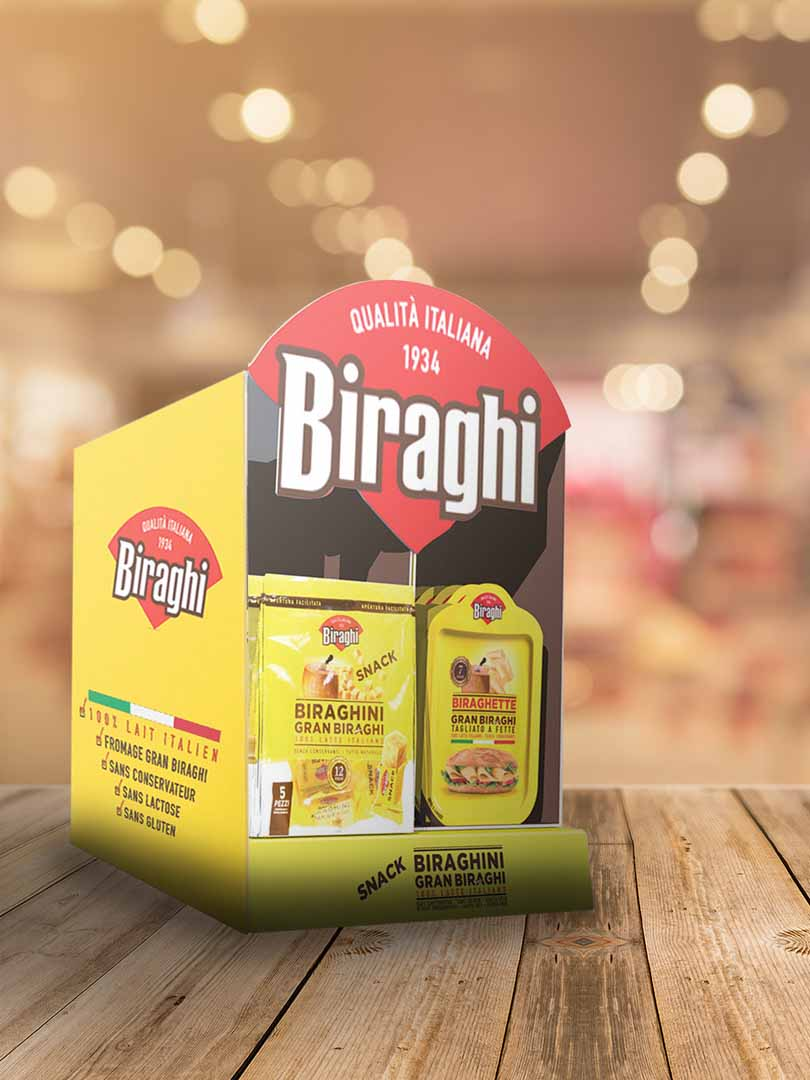 packaging per espositore da banco Biraghi | lavoro realizzato da Fotolito FB