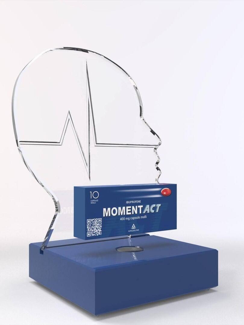 punti vendita pharma Moment Act, espositore di prodotti in plexiglass | lavoro realizzato da Fotolito FB